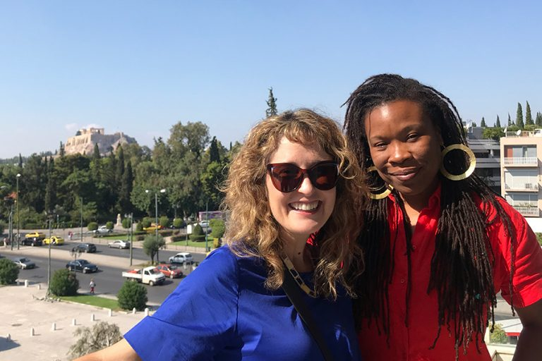 Curatorial Fellow Miranda Lash (left) and Visual Art Fellow Tomashi Jackson (right) visit the College Year in Athens (CYA) headquarters.