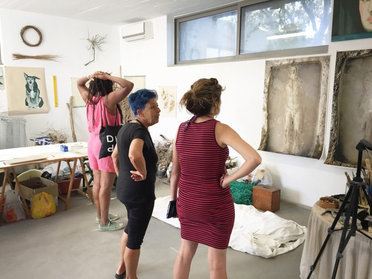 With artist Eleni Mylonas (center) at her studio in Aegina